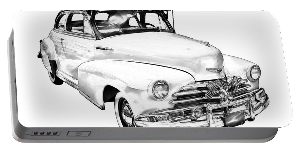 Car Portable Battery Charger featuring the photograph 1948 Chevrolet Fleetmaster Antique Car Illustration by Keith Webber Jr
