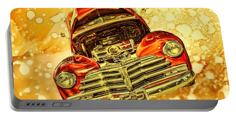 1948 Portable Battery Charger featuring the photograph 1948 Chevy Gold Acid Art by Lesa Fine