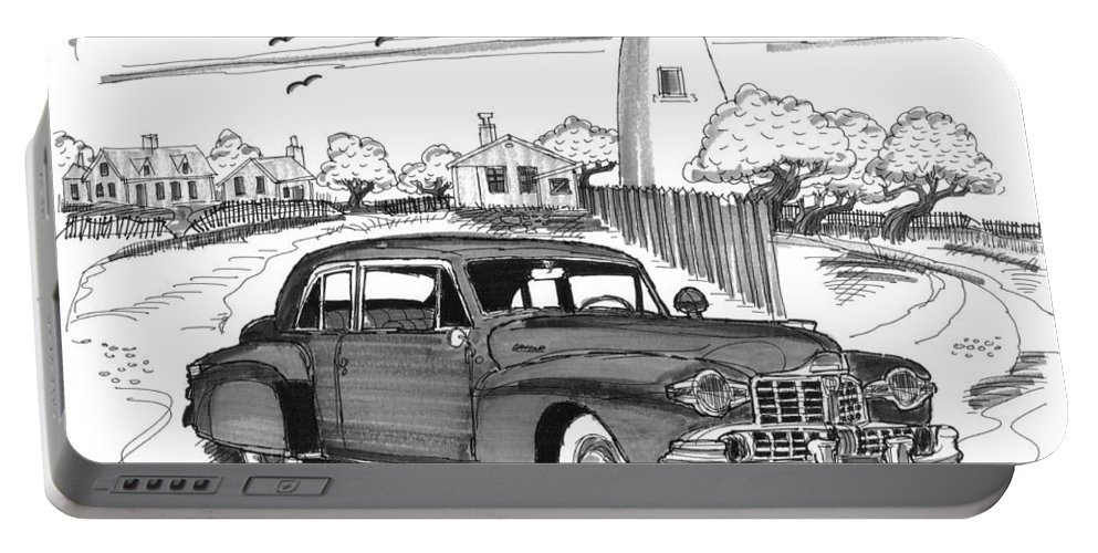 1948 Lincoln Continental Portable Battery Charger featuring the drawing 1948 Lincoln Continental by Richard Wambach