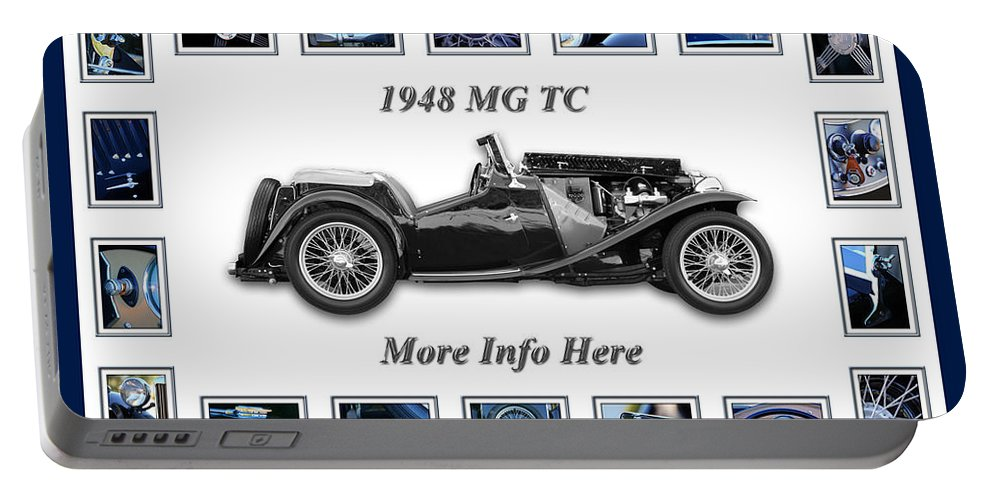 1948 Mg Tc Art Portable Battery Charger featuring the photograph 1948 Mg Tc by Jill Reger