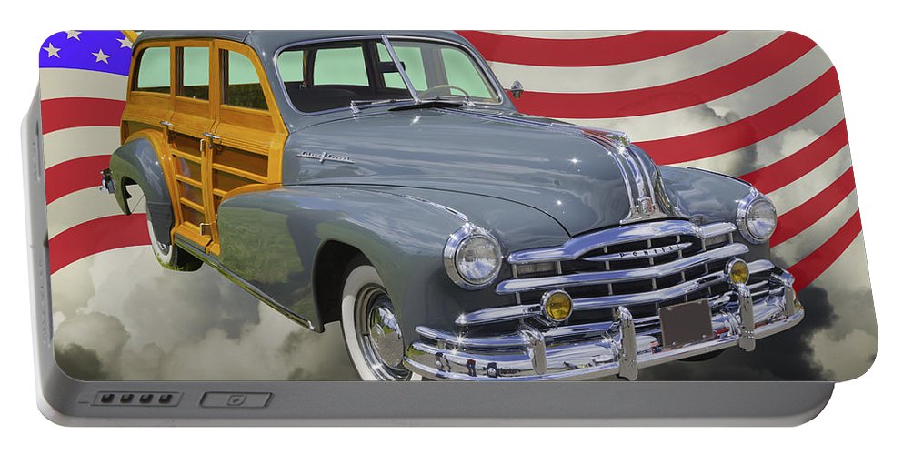 Old Portable Battery Charger featuring the photograph 1948 Pontiac Silver Streak Woody And American Flag by Keith Webber Jr