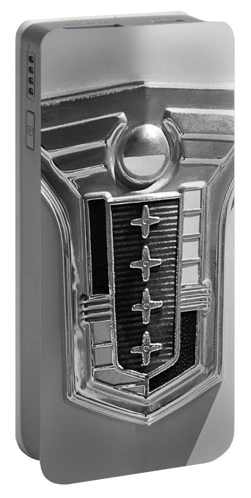 1949 Mercury Station Wagon Emblem Portable Battery Charger featuring the photograph 1949 Mercury Station Wagon Emblem by Jill Reger