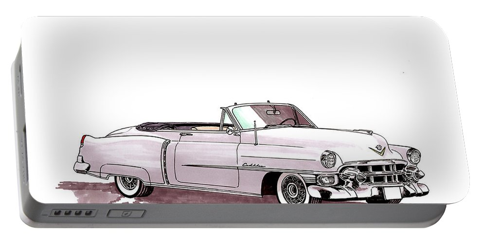 Classic Car Paintings Portable Battery Charger featuring the painting 1953 Cadillac El Dorado by Jack Pumphrey