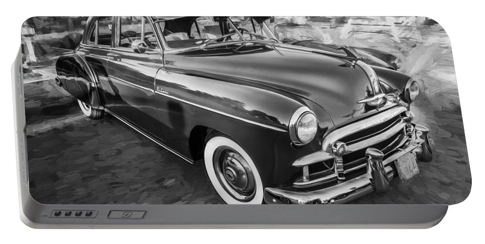 1950 Chevy Portable Battery Charger featuring the photograph 1950 Chevrolet Sedan Deluxe Painted Bw  by Rich Franco