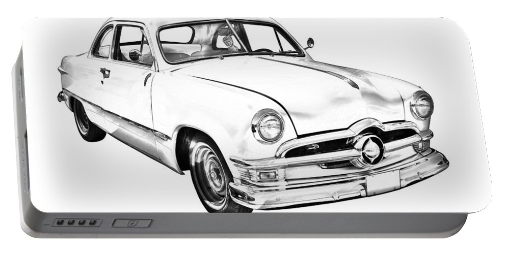 Ford; Vintage; Old; 1950; Ford Custom; Classic; Car; Antique; Vehicle; Automobile; Auto; Retro; Transportation; American; Historic; Illustration; Drawing Portable Battery Charger featuring the photograph 1950 Ford Custom Antique Car Illustration by Keith Webber Jr