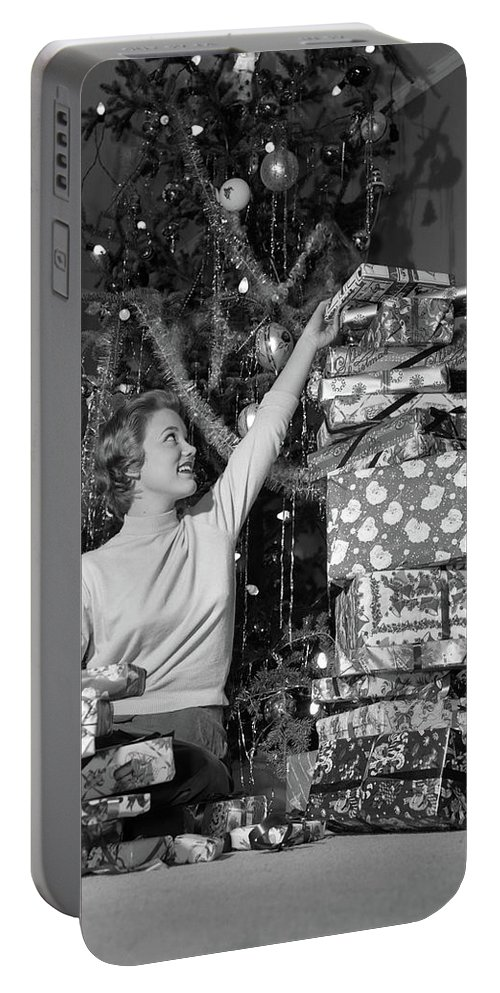 Photography Portable Battery Charger featuring the photograph 1950s Smiling Young Woman Sitting by Vintage Images