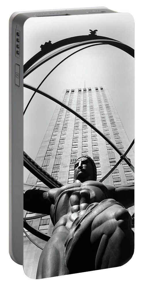 Photography Portable Battery Charger featuring the photograph 1950s Statue Of Atlas At Rockefeller by Vintage Images