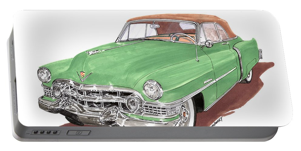 Classic Car Paintings Portable Battery Charger featuring the painting 1951 Cadillac Series 62 Convertible by Jack Pumphrey