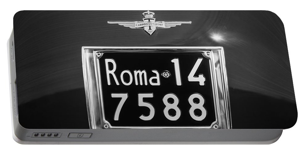 1951 Ferrari 212 Export Berlinetta Rear Emblem - License Plate Portable Battery Charger featuring the photograph 1951 Ferrari 212 Export Berlinetta Rear Emblem - License Plate -0775bw by Jill Reger