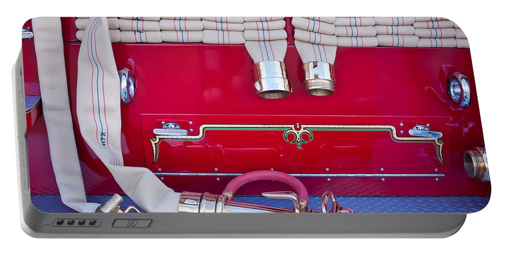 1952 L Model Mack Pumper Fire Truck Portable Battery Charger featuring the photograph 1952 L Model Mack Pumper Fire Truck Hoses by Jill Reger
