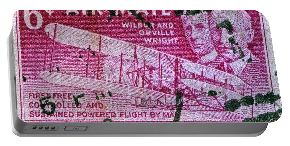 1952 Wright Brothers Stamp Portable Battery Charger featuring the photograph 1952 Wright Brothers Stamp by Bill Owen