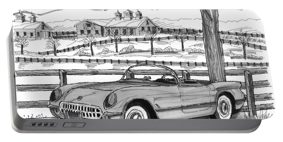 1953 Chevrolet Corvette Portable Battery Charger featuring the drawing 1953 Chevrolet Corvette by Richard Wambach