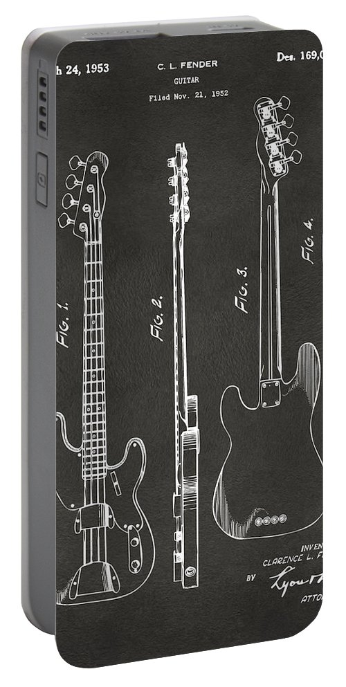 Fender Guitar Portable Battery Charger featuring the digital art 1953 Fender Bass Guitar Patent Artwork - Gray by Nikki Marie Smith