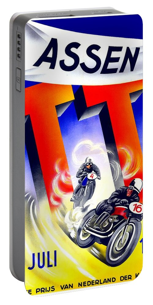1954 Portable Battery Charger featuring the digital art 1954 - Assen Tt Motorcycle Poster - Color by John Madison
