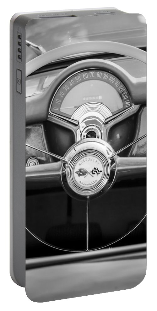 1954 Chevrolet Corvette Steering Wheel Portable Battery Charger featuring the photograph 1954 Chevrolet Corvette Steering Wheel -382bw by Jill Reger