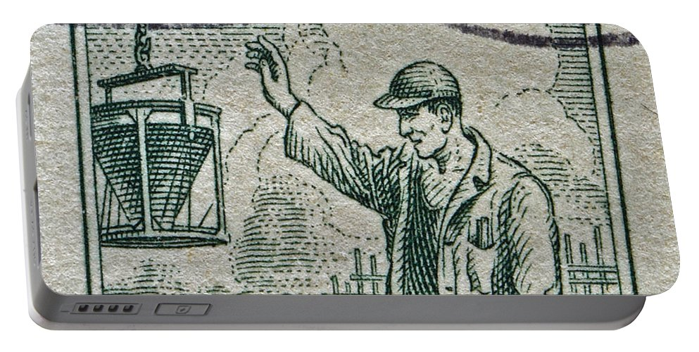 1954 Portable Battery Charger featuring the photograph 1954 Czechoslovakian Construction Worker Stamp by Bill Owen