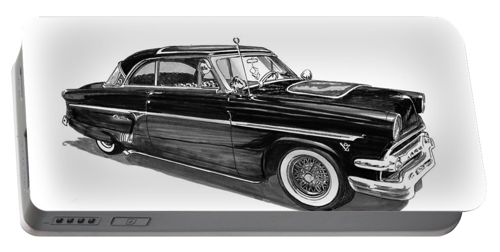 1954 Ford Skyliner Drawing By Jack Pumphrey Portable Battery Charger featuring the drawing 1954 Ford Skyliner by Jack Pumphrey
