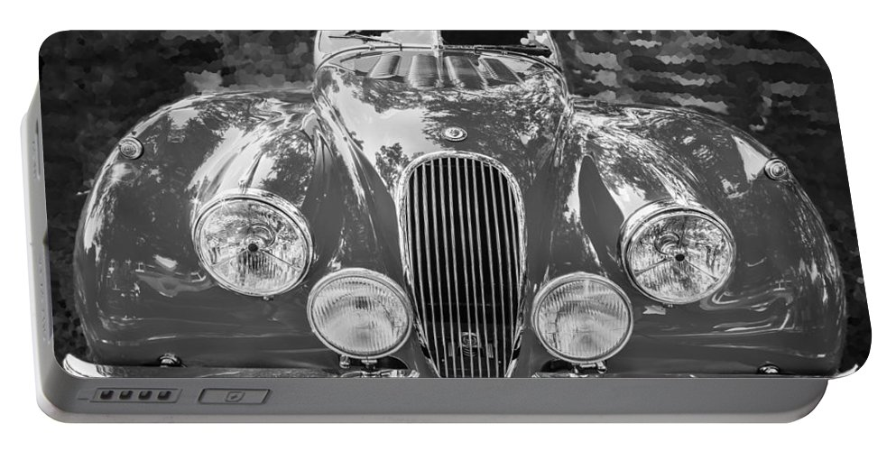 1954 Jaguar Portable Battery Charger featuring the photograph 1954 Jaguar Xk 120 Se Ots Bw by Rich Franco