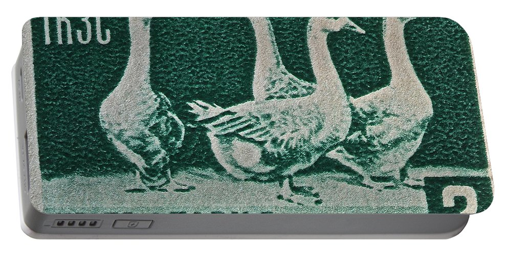 1955 Portable Battery Charger featuring the photograph 1955 Bulgarian Geese Stamp by Bill Owen