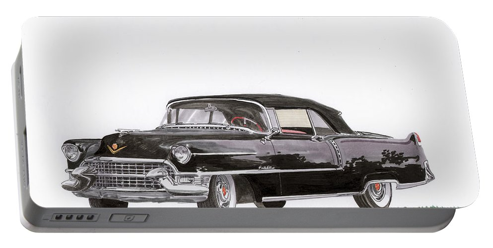 Classic Car Paintings Portable Battery Charger featuring the painting 1955 Cadillac Series 62 Convertible by Jack Pumphrey
