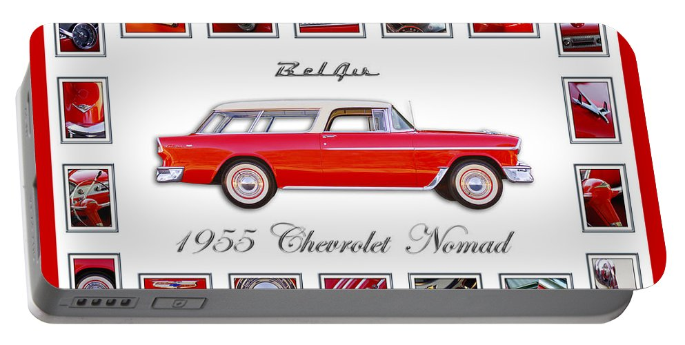 1955 Chevrolet Belair Nomad Art Portable Battery Charger featuring the photograph 1955 Chevrolet Belair Nomad Art by Jill Reger