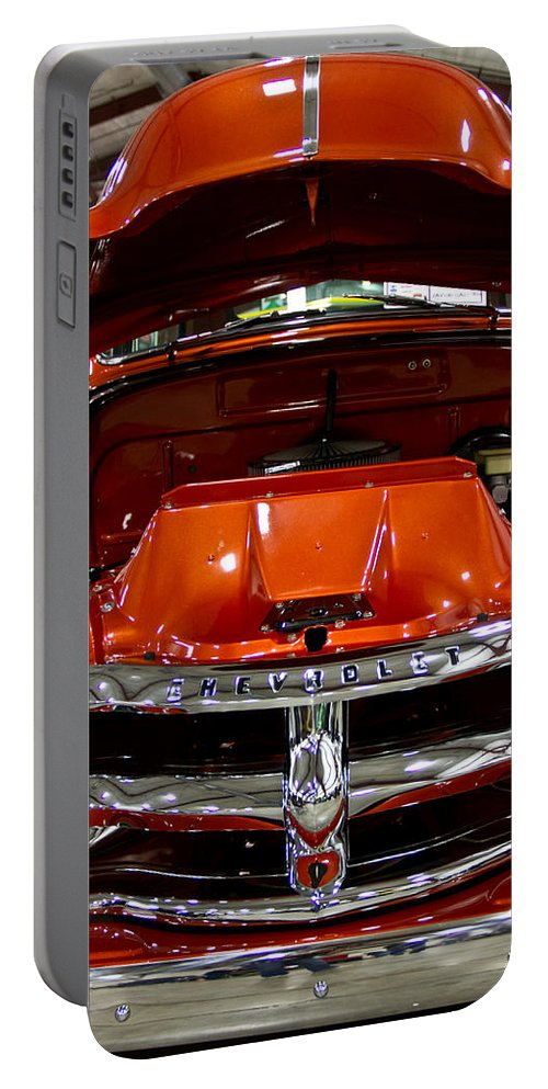 Retro Portable Battery Charger featuring the photograph 1955 Chevrolet Truck-american Classics-front View by Eti Reid