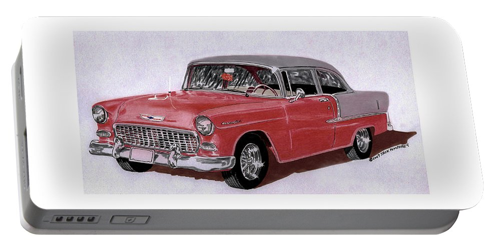 A Watercolor Painting By Jack Pumphrey Of A 1955 Chevy Post Two Door Sedan Portable Battery Charger featuring the painting 1955 Chevy Post Streeter by Jack Pumphrey
