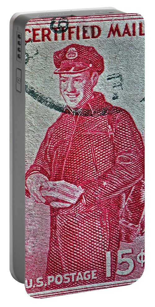 1955 Portable Battery Charger featuring the photograph 1955 First Certified Mail Stamp by Bill Owen