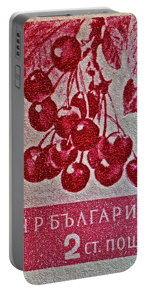 1956 Bulgarian Portable Battery Charger featuring the photograph 1956 Bulgarian Wild Cherry Stamp by Bill Owen