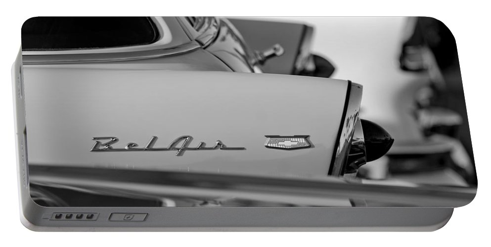 1956 Chevrolet Belair Nomad Rear End Emblem Portable Battery Charger featuring the photograph 1956 Chevrolet Belair Nomad Rear End Emblem by Jill Reger
