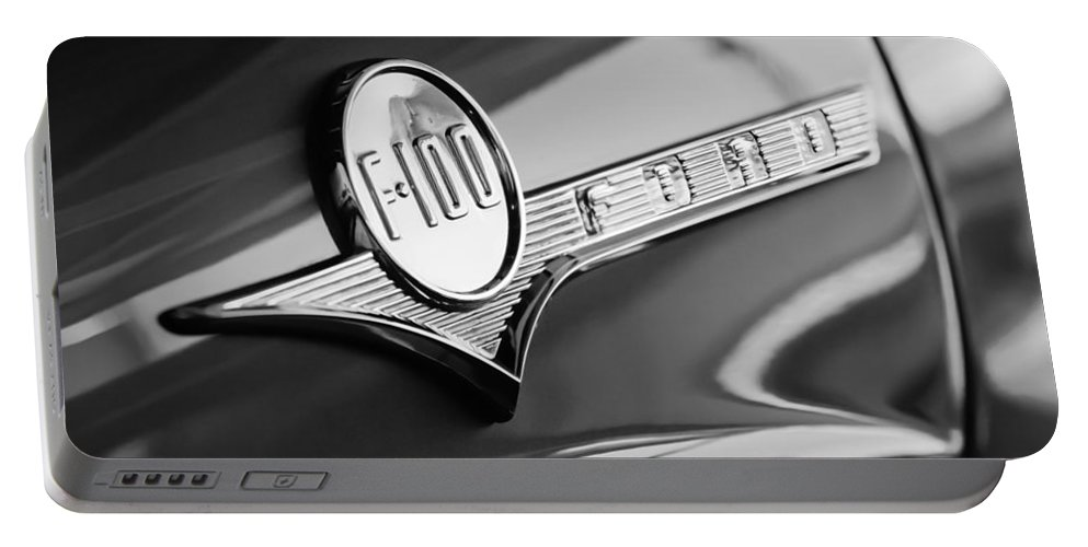 1956 Ford F-100 Pickup Truck Emblem Portable Battery Charger featuring the photograph 1956 Ford F-100 Pickup Truck Emblem by Jill Reger