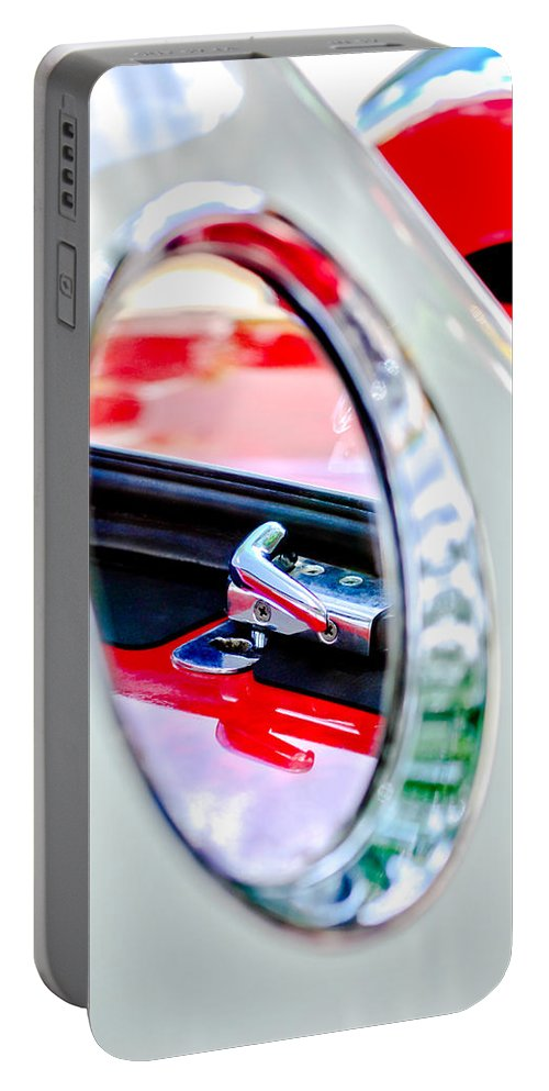1956 Ford Thunderbird Latch Portable Battery Charger featuring the photograph 1956 Ford Thunderbird Latch -417c by Jill Reger