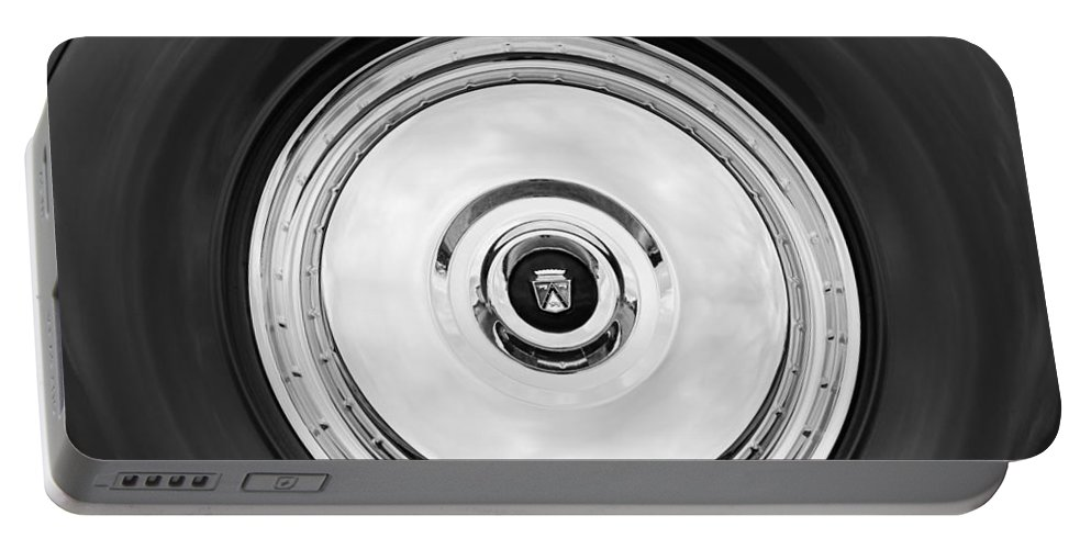 1956 Ford Thunderbird Spare Tire Emblem Portable Battery Charger featuring the photograph 1956 Ford Thunderbird Spare Tire Emblem by Jill Reger