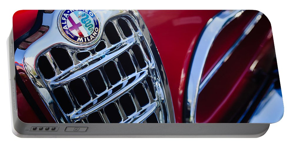 1957 Alfa-romeo 1900c Super Sprint Grille Emblem Portable Battery Charger featuring the photograph 1957 Alfa-romeo 1900c Super Sprint Grille Emblem by Jill Reger