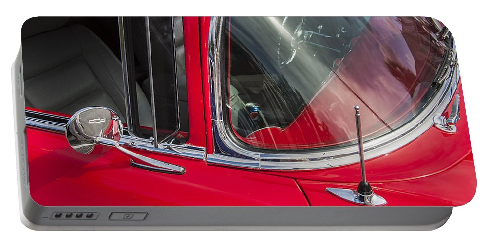 1957 Chevy Portable Battery Charger featuring the photograph 1957 Chevy Bel Air Chrome by Rich Franco