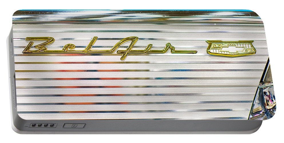 1957 Chevy Portable Battery Charger featuring the photograph 1957 Chevy Bel Air Emblem by Rospotte Photography