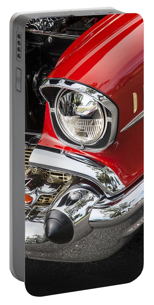 1957 Chevy Portable Battery Charger featuring the photograph 1957 Chevy Bel Air Headlight by Rich Franco