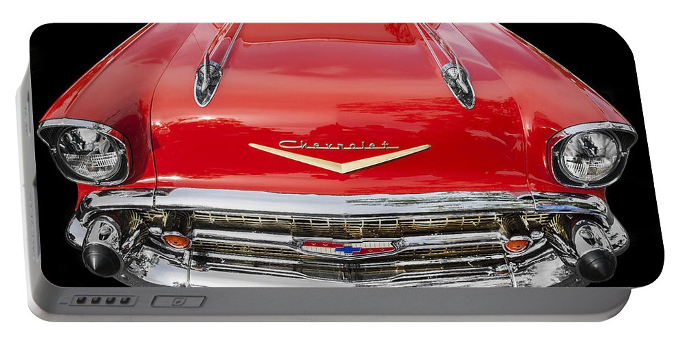 1957 Chevy Portable Battery Charger featuring the photograph 1957 Chevy Front End by Rich Franco