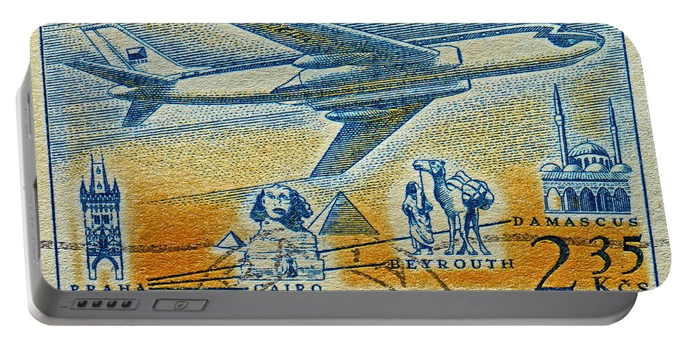 1957 Portable Battery Charger featuring the photograph 1957 Czechoslovakia Airline Stamp by Bill Owen
