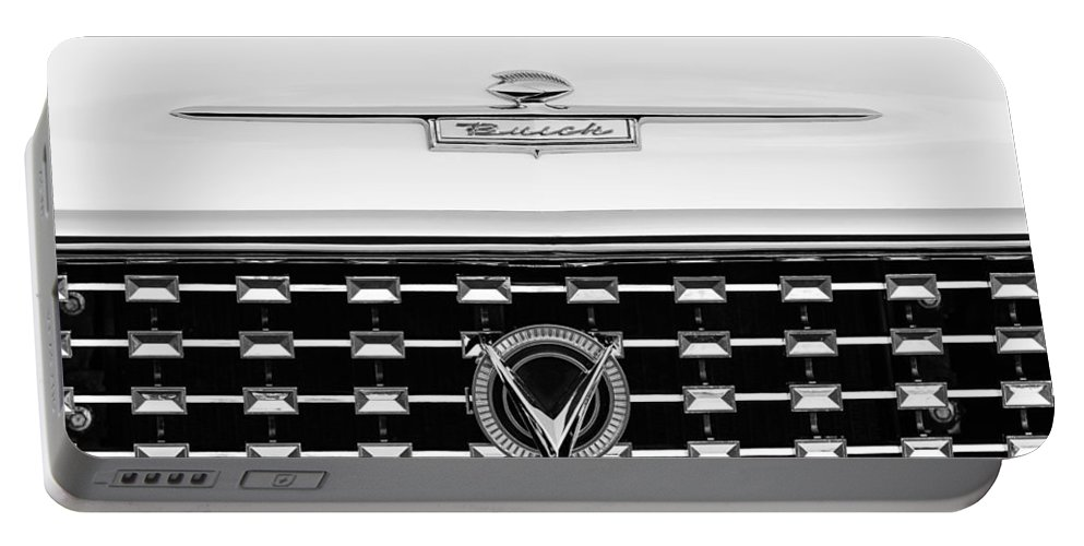 1959 Buick Le Sabre Convertible Grille Emblems Portable Battery Charger featuring the photograph 1959 Buick Lesabre Convertible Grille Emblems by Jill Reger
