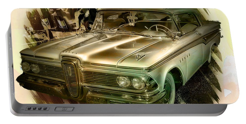 Edsel Portable Battery Charger featuring the photograph 1959 Edsel by Ericamaxine Price