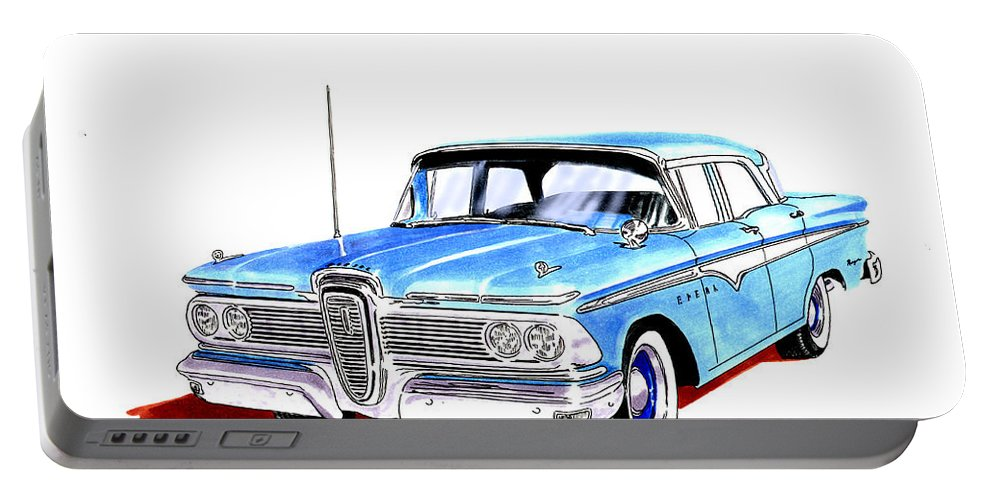 The 1959 Edsel Ranger Was An Automobile Produced By The Former Mercury-edsel-lincoln Division Of The Ford Motor Company Of Dearborn Portable Battery Charger featuring the painting 1959 Ford Edsel Ranger 4-door Sedan by Jack Pumphrey