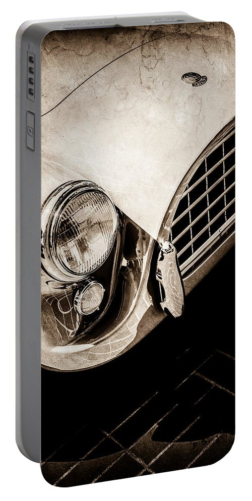 1960 Ac Aceca Grille Emblem Portable Battery Charger featuring the photograph 1960 Ac Aceca Grille Emblem -0058s by Jill Reger