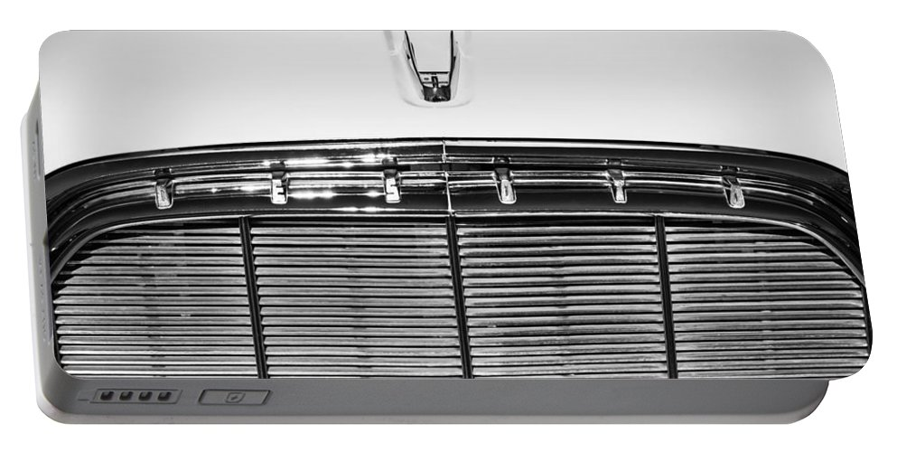 1960 Desoto Fireflite Two-door Hardtop Grille Emblem Portable Battery Charger featuring the photograph 1960 Desoto Fireflite Two-door Hardtop Grille Emblem -0931bw by Jill Reger