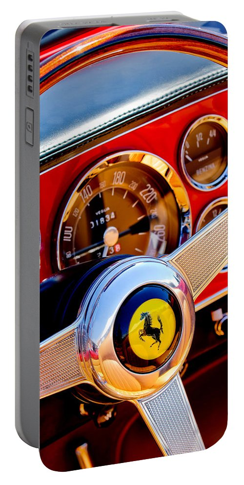 1960 Ferrari 250 Gt Cabriolet Pininfarina Series Ii Portable Battery Charger featuring the photograph 1960 Ferrari 250 Gt Cabriolet Pininfarina Series II Steering Wheel Emblem -1319c by Jill Reger