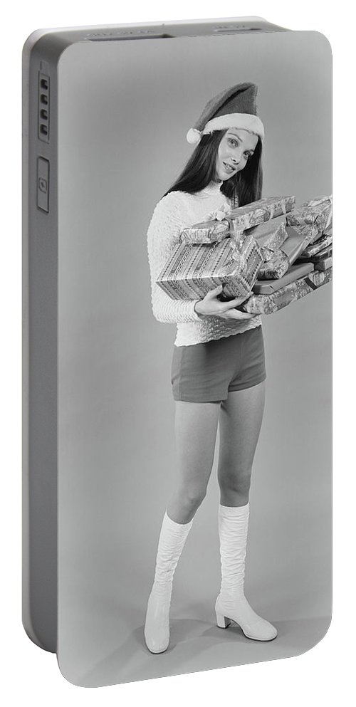 Photography Portable Battery Charger featuring the photograph 1960s 1970s Young Woman Wearing Santa by Vintage Images