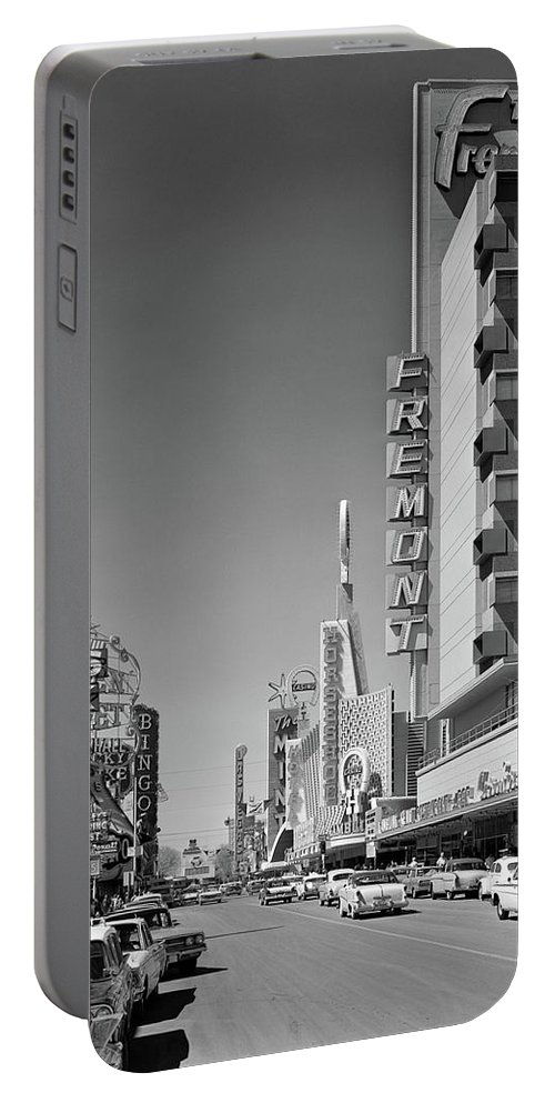 Photography Portable Battery Charger featuring the photograph 1960s View Down Freemont Street by Vintage Images