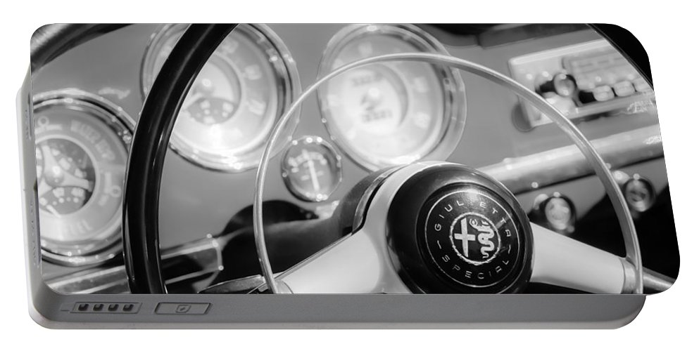 1961 Alfa-romeo Giulietta Spider Steering Wheel Emblem Portable Battery Charger featuring the photograph 1961 Alfa Romeo Giulietta Spider Steering Wheel Emblem -1239bw by Jill Reger