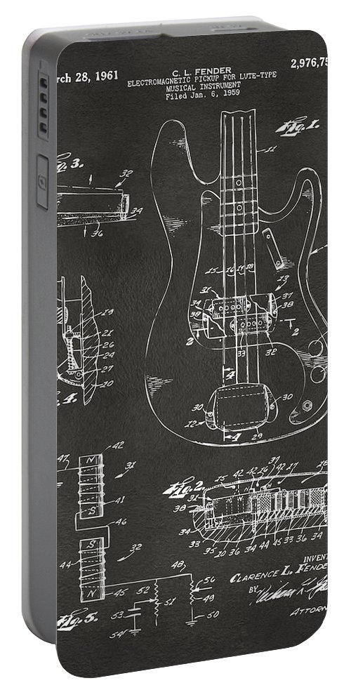 Guitar Portable Battery Charger featuring the digital art 1961 Fender Guitar Patent Artwork - Gray by Nikki Marie Smith