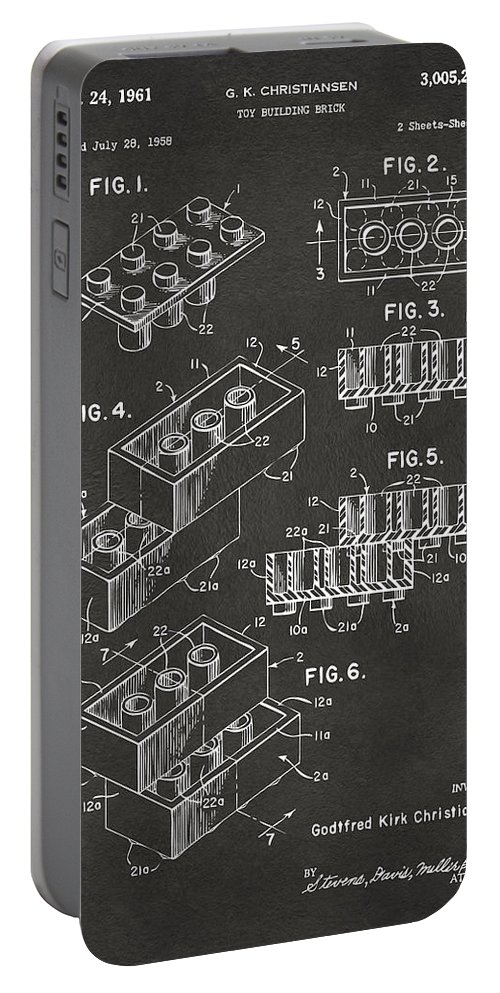 Toy Portable Battery Charger featuring the digital art 1961 Toy Building Brick Patent Art - Gray by Nikki Marie Smith
